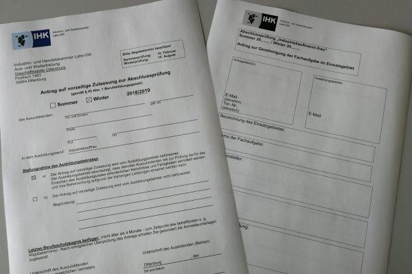 Anträge zur Fachaufgabe Abschlussprüfung